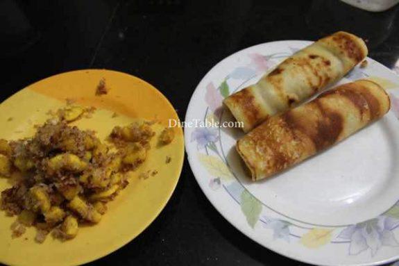 Banana Filling Pancake Recipe - Crunchy Pancake