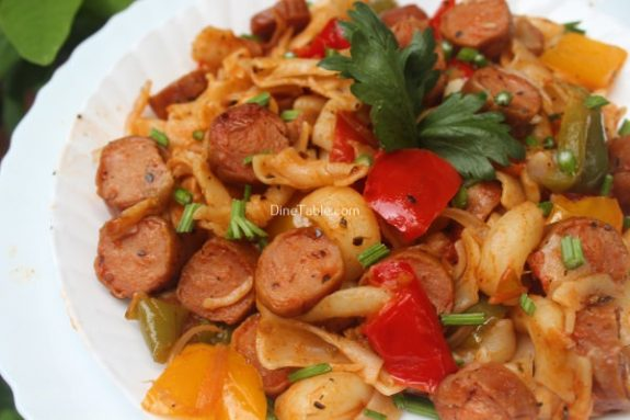 Bell Pepper Sausage Pasta Recipe - Tasty Dish