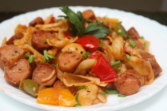 Bell Pepper Sausage Pasta Recipe - Variety Dish