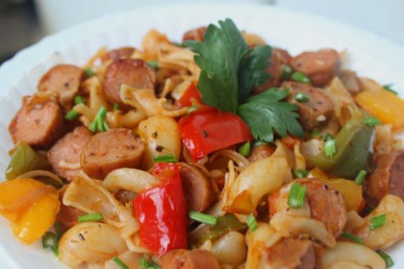 Bell Pepper Sausage Pasta Recipe - Easy Dish