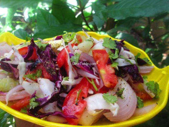 Cucumber, White and Purple Cabbage Salad Recipe - Variety Salad