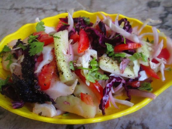 Cucumber, White and Purple Cabbage Salad Recipe - Veg Salad